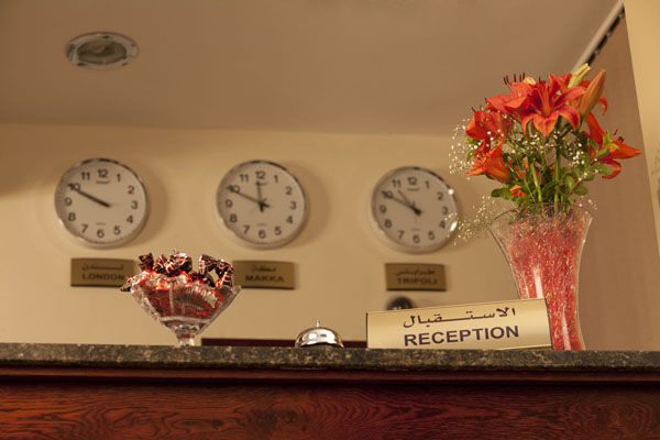 Time zones at reception desk